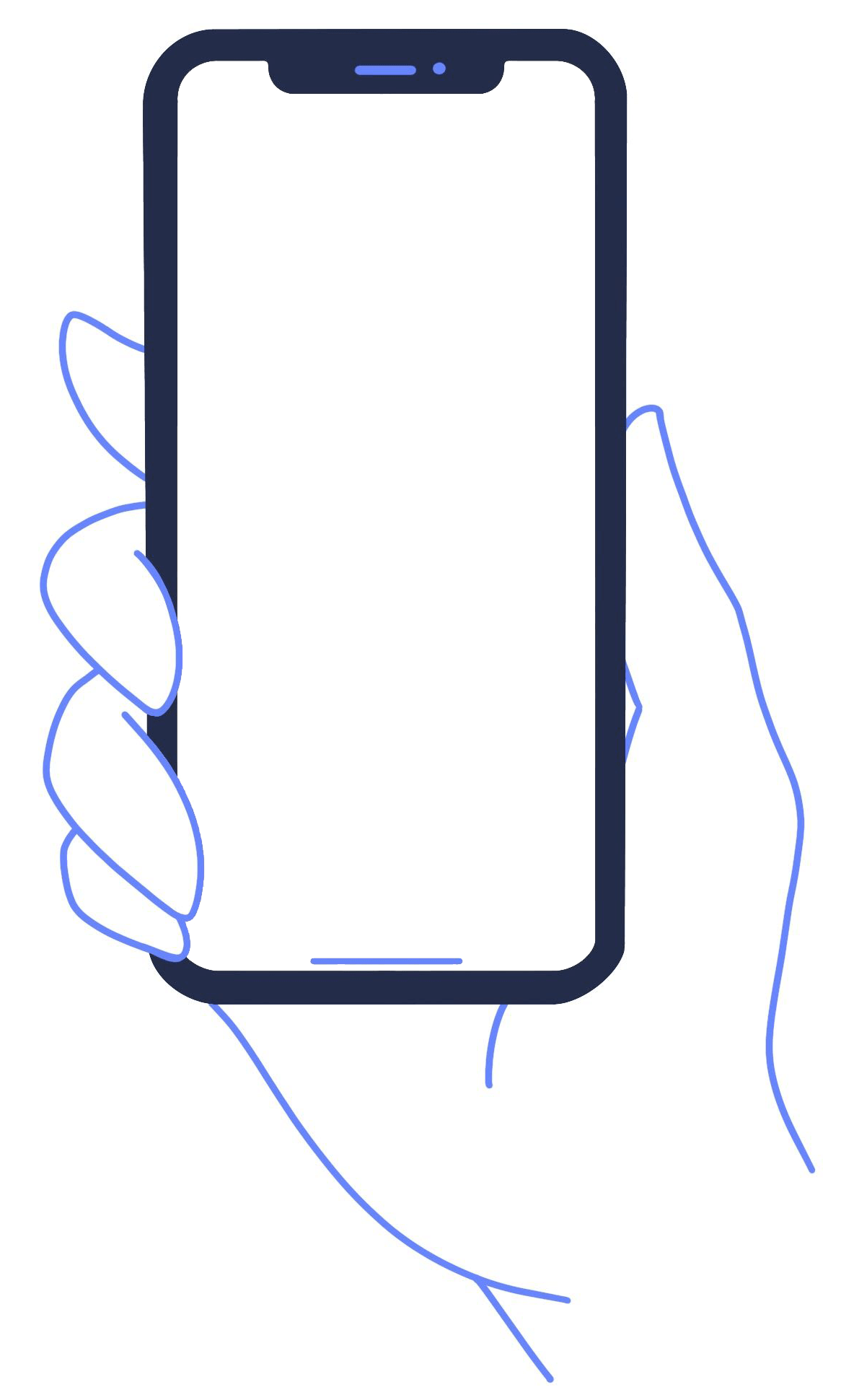 Cartoon hand holding mobile phone with blank screen