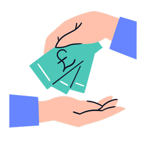 Cartoon hand giving cash incentives to another