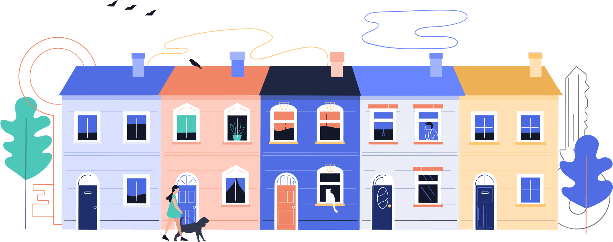 Cartoon terraced houses with female walking dog