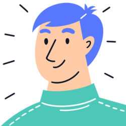 Cartoon male tenant with blue hair and green jumper
