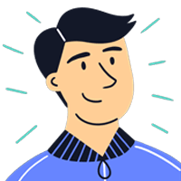 Cartoon male tenant with black hair and blue jacket