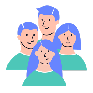 Four cartoon male and female tenants with blue hair and green jumpers