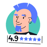 Cartoon male tenant with blue mohican hair and good rating