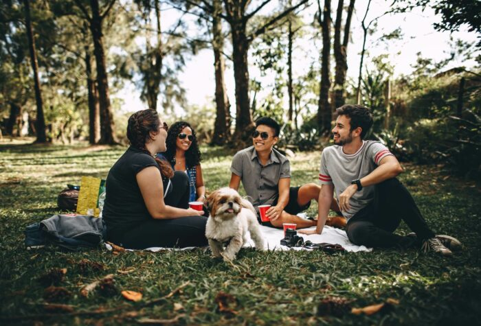 Four friends on picnic rug in the woods with a dog