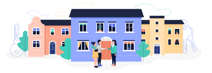Old homepage logo of tenant and agent shaking hands in front of a house