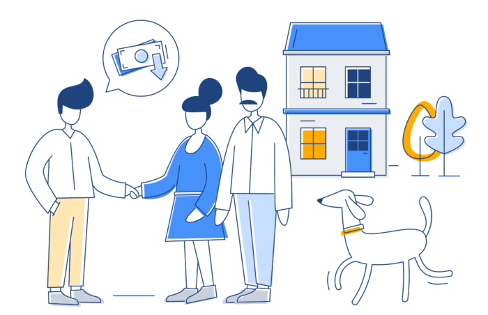 Tenant shaking hands with their agent