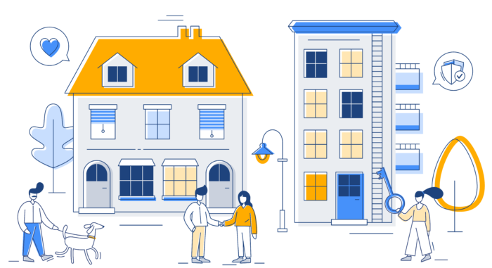 New Homepage Illustration Animation with tenant and agent shaking hands in front of their new home
