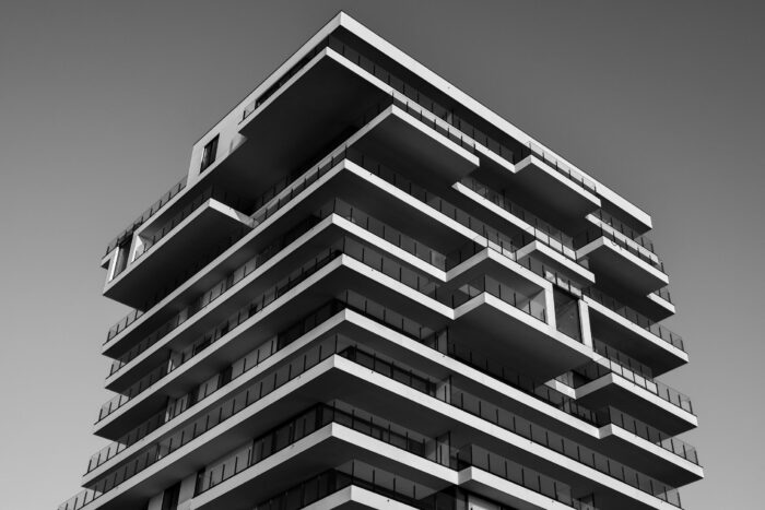 Tall Build to Rent building in black and white